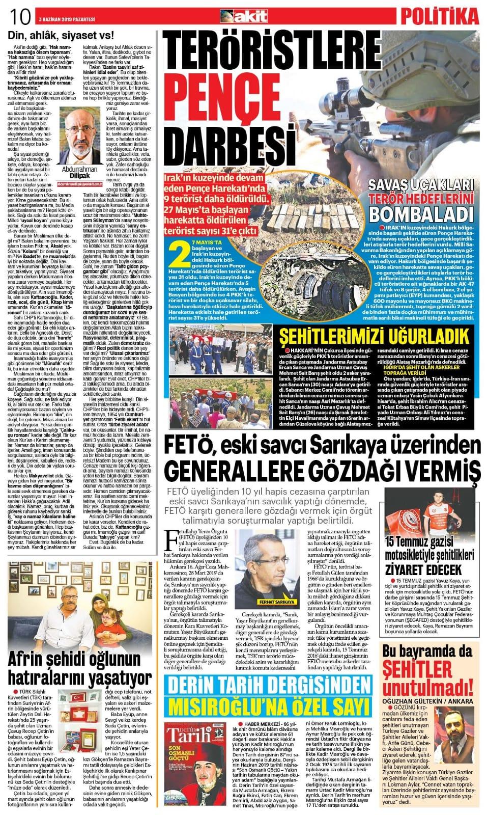 Bu bayram da şehitler unutulmadı Yeni Akit Gazetesi 04.06.2019
