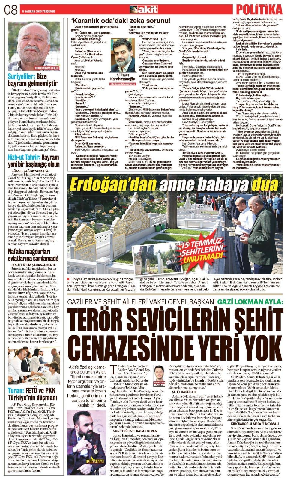 Terör sevicilerin şehit cenazelerinde yeri yok Yeni Akit Gazetesi 05.06.2019