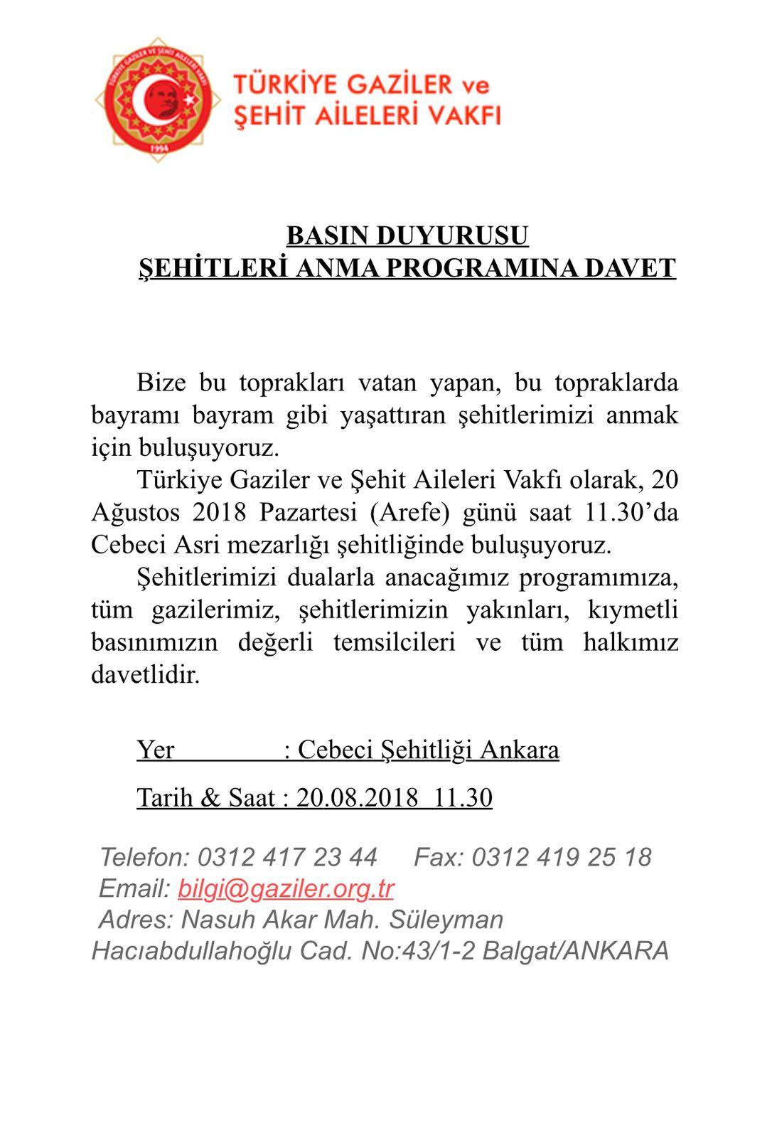 ŞEHİTLERİ ANMA PROGRAMINA DAVET